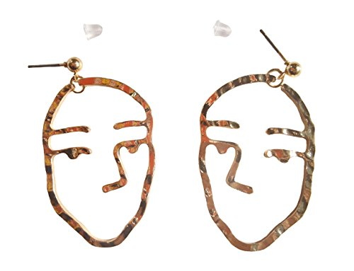 ASKANA Women`s Fashion Human Face Without Mouth Shaped Alloy Gold Color Stud - Face Long Shaped