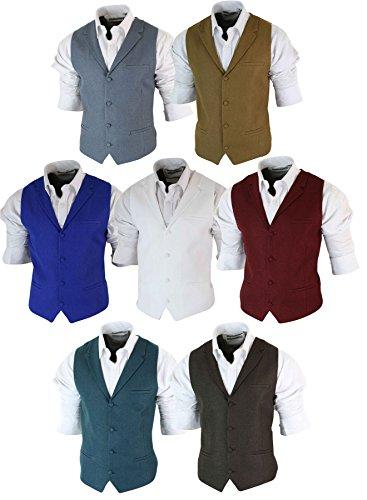 Elegante Grigio Vintage Cb In Stile Gilet Da Uomo Sagomato Retro Tweed Con Colletto wxEw17gqn8