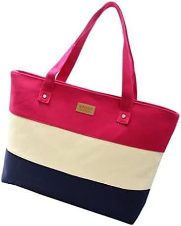 Big Shoulder Bags,Hemlock Women Girl Canvas Handbags Messenger Bags (Hot pink)