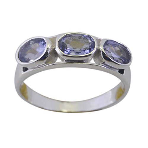 55Carat Natural Iolite Oval Cut Ring 3 Stone Sterling Silver Bezel Style Hanmdade Jewelry Size 5,6,7,8,9,10,11,12