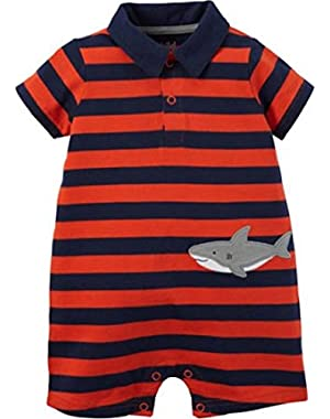 Baby Boys Striped Polo Shark Romper Sunsuit