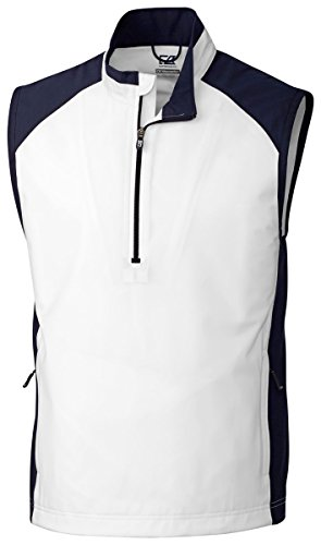 Cutter & Buck MCO09829 Mens CB WeatherTec Summit Half Zip Vest, White-XXXL