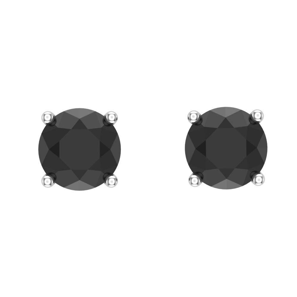 1//2-4 ct tw Black Diamond Stud Earrings Round Brilliant Solid 14K Gold Setting