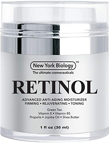 New York Biology Retinol Cream Moisturizer for Face and Eye Area - Anti Aging Infused with Vitamin A and E for Fine Lines and Wrinkles - 1 oz