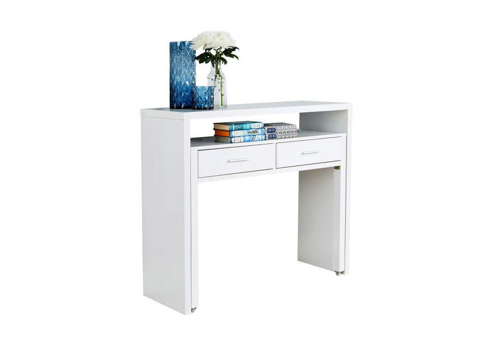 Carpet Kingdom Regis White Console Extending Table Office Computer Desk Drawers Storage