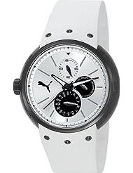 PUMA Womens PU102672003 Hero Silicone Watch, White/Black