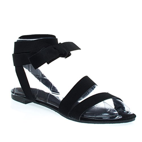 Womens Open Toe Leg Wrap Lace Up Flat Sandal Black F-suede Y3gNgxRJ