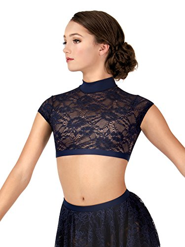 Body Wrappers Adult Lace Cap Sleeve Dance Crop Top,LC9025MAUXS,Mauve,XS