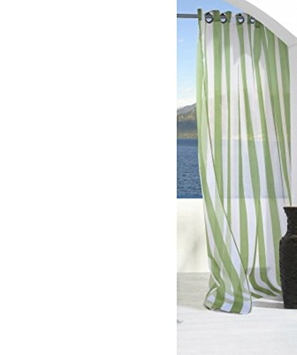 Outdoor Decor Escape Stripe Grommet Top Curtain Panel-Green, 54 x 96'' by Commonwealth Home Fashions