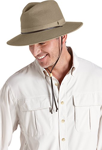 Coolibar UPF 50+ Men's Crushable Ventilated Hat - Sun Protective (Large/X-Large- Khaki)
