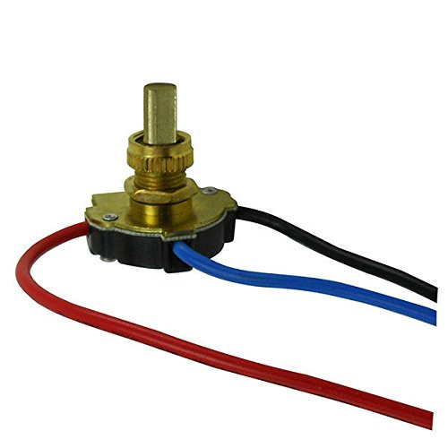Push Button - On/Off Canopy Switch - 3 Way - Polished Brass - 6 Amp - 125 Volt - PLT 55-3746-10 Polished Brass Canopy