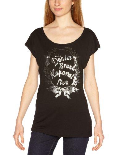 Kaporal - Camiseta de manga corta con cuello redondo para mujer Negro