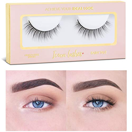 Icona Lashes Premium Quality False Eyelashes | Fairy Tale | Light and Dainty | Natural Look and Feel | Reusable | 100% Handmade & Cruelty-Free (Best Everyday False Lashes)