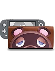 Funlab Leather Carrying Case for Nintendo Switch Lite,Portable Ultra Slim Clutch with Game Card Holder for Animal Crossing Fans (Nintendo Switch Lite Brown)