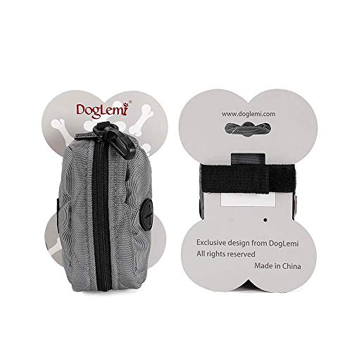 DogLemi Dog Poop Bag Holder for Leash Attachment – Quality Padded Cotton + 2 Free Extra Rolls (Grey)