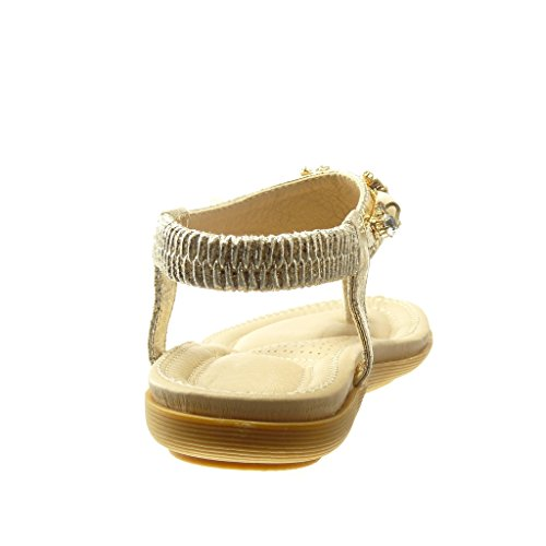 Angkorly - Chaussure Mode Sandale Tong salomés femme bijoux strass diamant Talon plat 2 CM - Or