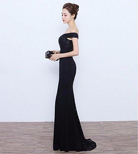de Empresa la Cena Largo Delgada Invierno WBXAZL Vestido Anual Chica Vestido Black Delgada Noche de acogida Longitud de y Hombro Pzq5F