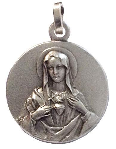 Igj Medalla del Sagrado Coraz/ón de Maria de Plata Maciza 925