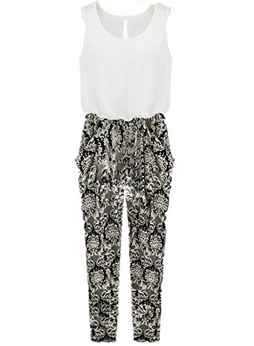 Women's Sexy Sleeveless Jumpsuit Floral Pattern Harem Long Pants Romper (S)