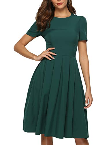 Length Gown Tea - Simple Flavor Women's Floral Summer Midi Dress Vintage Evening Dress Short Sleeve(0022Green,S)