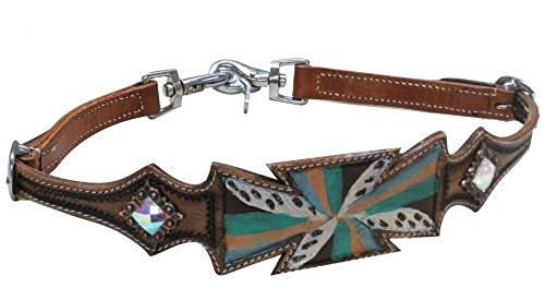 Shiloh Showman Adjustable Medium Leather Hand Painted Teal White Gold Cross Rhinestone Conchos Wither Strap 2 Trigger Snaps ()