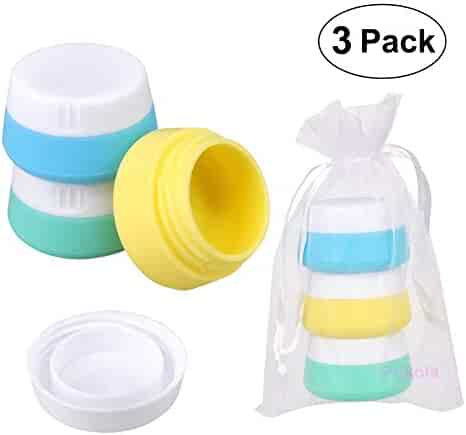 Silicone Cream Jars Travel Accessories Containers with Hard Sealed Lids 20ml Per Piece 3 Pieces for Face Hand Body Cream