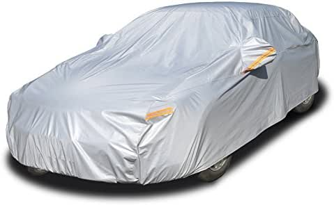 Kayme Multi-Layer Car Cover Waterproof All Weather for Automobiles, Outdoor Full Cover Rain Sun UV Protection with Zipper Cotton, Universal Fit for Sedan (178