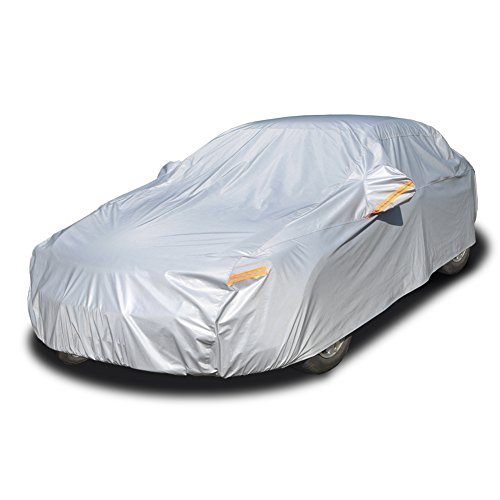 Kayme Four Layers Waterproof All Weather Car Covers with Cotton Zipper Sun Uv Rain Protection for Automobiles Indoor Outdoor Fit Sedan Wangon (182