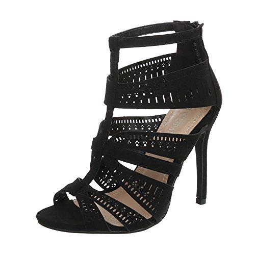 Damen Schuhe Sandaletten High Heels Pumps Schwarz