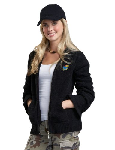NCAA University of Kansas Kashwere U Full-Zip Hoodie (Black, (Black Collegiate Hoody Sweatshirt)