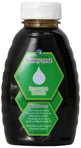 Amazing Herbs Honey Zest Immune Boost Bottle, 16 Fluid Ounce