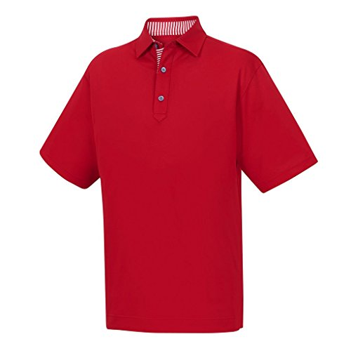 (FootJoy ProDry Performance Stretch Pique Golf Polo 2018 Red Large)