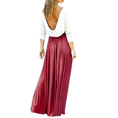 Challeng Vestido sin Tirantes de Cintura Alta Elegante de Las Mujeres Vestido de Playa Sexy Vestido de Empalme Vino Tinto