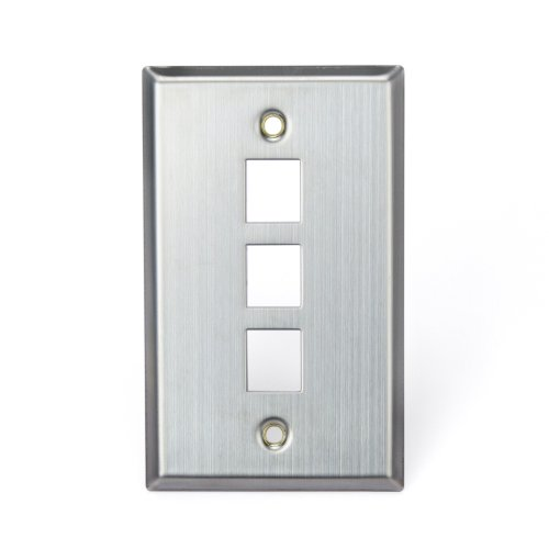 (Leviton 43080-1S3 QuickPort Wallplate, Single Gang, 3-Port, Stainless Steel)