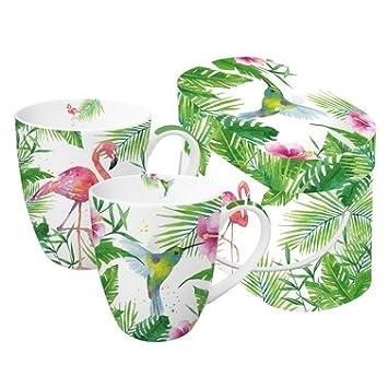 PPD 2 Porzellan Becher Tasse \'Tropical\' Flamingo Vogel Urwald in ...