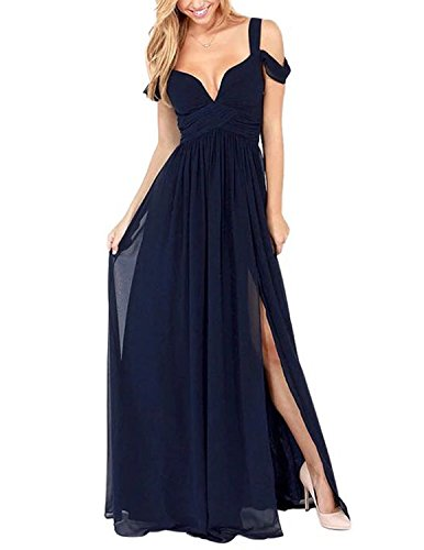 Hodoyi Women's Sexy Off-Shoulder Straps Long Chiffon Split Beach Prom Party -