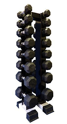 Pro Rubber Dumbbell Set 8 Pairs with Vertical Rack (2.3.5.8.10.12.15.20 lb and Rack) For Sale