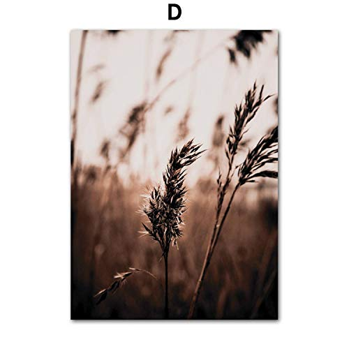 FAT BIG CAT Farm Plant Flower Leaves Wheat Landscape Wall Art Canvas Painting Nordic Posters and Prints Wall Pictures for Living Room Decor,13X18 cm No Framed,D