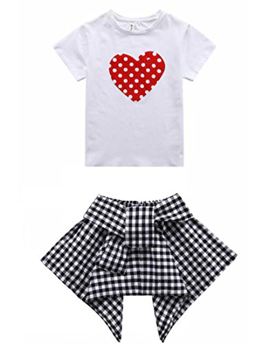 Cute Outfits for Girls 10-12 White Tee Shirt+Fashion Kids Skirt Casual Set