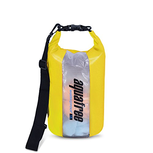 Aquafree Window Dry Bag - See Thru Window and Keeps Gear Dry for Kayaking, Beach, Rafting, Boating, Hiking, Camping and Fishing with 2L Aquafree Dry Sack - 12L yellow -