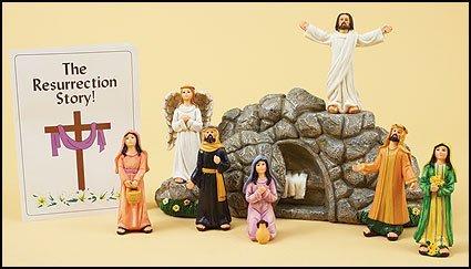 Religious Eight Piece Resin Figurine Resurrection of Jesus Christ Statue Set Decoration