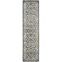 Safavieh Sofia Collection SOF378C Vintage Blue and Beige Distressed Runner (22 x 8)