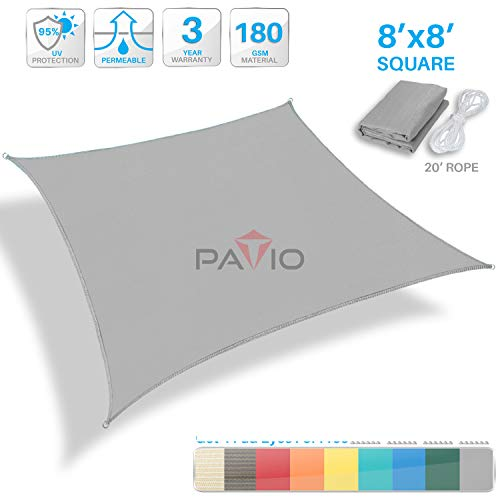 (Patio Paradise 8' x 8' Light Grey Sun Shade Sail Square Square Canopy - Permeable UV Block Fabric Durable Outdoor - Customized Available)