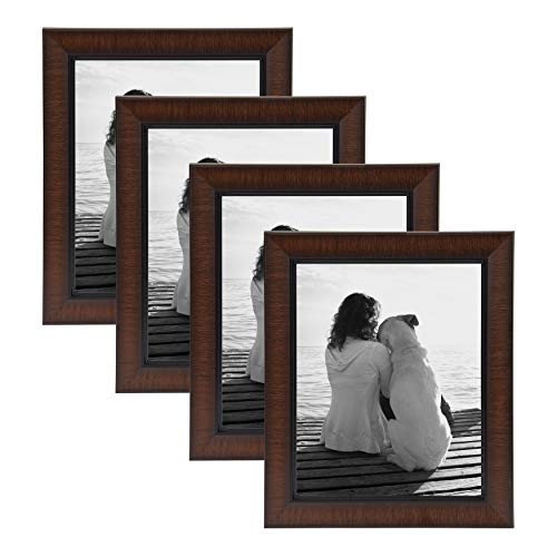 (DesignOvation Lynnwood Traditional Wall or Desktop Photo Frame Set, 8 x 10, Mahogany Finish, Pack of 4)