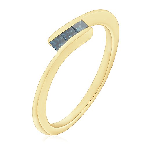 Tension Set Yellow Ring (Prism Jewel Three Princess Cut Tension Set Blue Diamond Bypass Ring, 14k Yellow Gold, Size 6)
