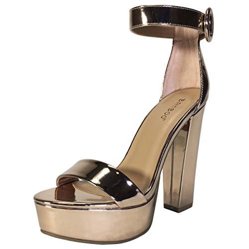 Bamboo Women's Chunky Heel Platform Sandal With Ankle Strap, Rose Gold Patent PU, 7.0 B (Bamboo Rose)