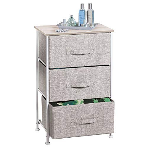 mDesign Fabric 3-Drawer Storage Organizer Unit for Closet, Bedroom, Entryway - Linen by mDesign
