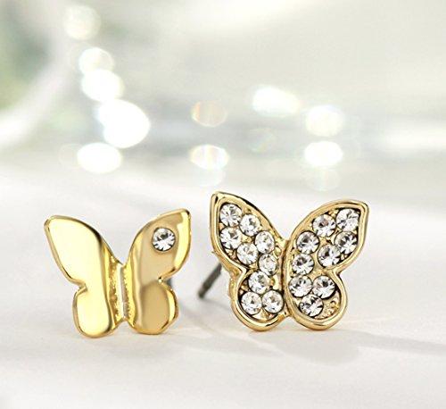 NEOGLORY Conjunto de Joya Collar Pulsera Pendientes Mariposa con Cristales SWAROVSKI BLANCO Joya Original Mujer