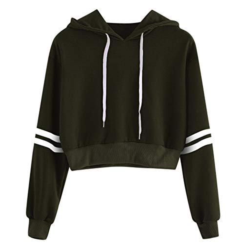 Cropped Hoodies,ONLY TOP Women's 2019 Fashion Long Sleeve Patchwork Crop Top Sweatshirt Army Green