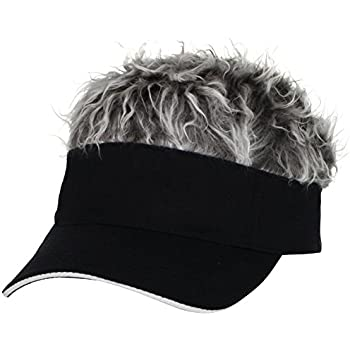 Flair Hair Mens Visor with Gray Wig One Size Fits Most Black, Gray Pkg/1